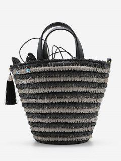 Cat Tassels Woven String Tote Bag - Black