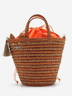 Cat Tassels Woven String Tote Bag - Pumpkin Orange