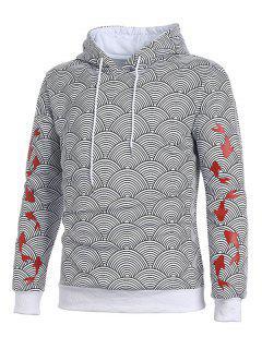 Waves Pattern Japanese Koi Printed Hoodie - Ash Gray Xl