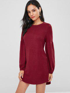 Lantern Sleeve Mini Shift Casual Dress - Red Wine M