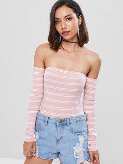 Striped Lace Up Bodysuit - Pig Pink S
