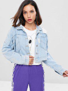 Distressed Cropped Denim Jacket - Powder Blue M