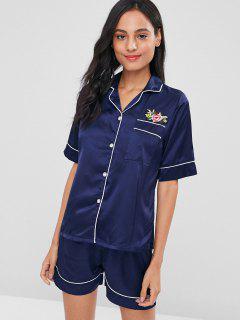 Conjunto De Pijamas De Satén Apliques - Ballena Azul Xl