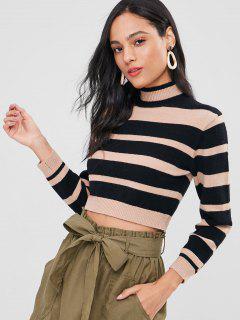 Striped High Neck Sweater - Black S