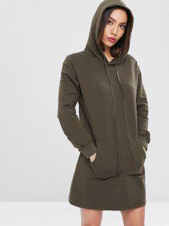 Kangaroo Pocket Hoodie Dress - Dark Khaki L