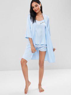 Embroidered Satin Pajamas Set - Sea Blue M