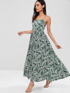 Leaf Print Flecked Lace Up Maxi Dress - Multi M