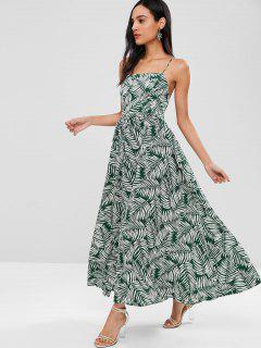 Leaf Print Flecked Lace Up Maxi Dress - Multi L