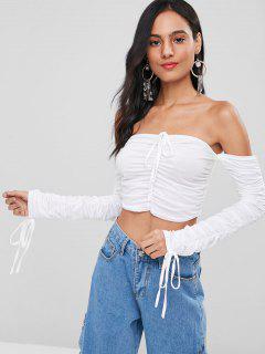 Schulterfreies Cinched Crop T-Shirt - Weiß Xl