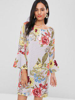 Flare Sleeve Stripes Floral Dress - Multi L