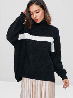 Color Block Turtleneck Sweater - Black