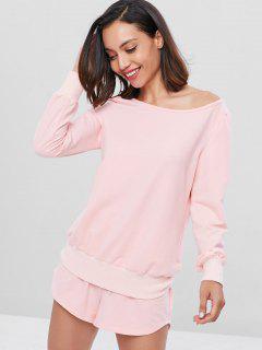 Skew Neck Top And Shorts Set - Light Pink L