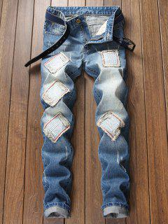 Chinese Characters Faded Wash Ripped Jeans - Blue 34