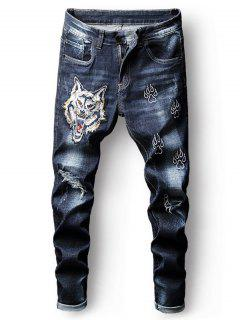 Embroidery Tiger Ripped Faded Wash Jeans - Deep Blue 34