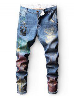 Colorful Paint Faded Wash Nine Minutes Of Jeans - Blue 38