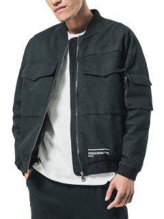 Big Pockets Patch Elastic Cuffs Zip Jacket - Black Xs