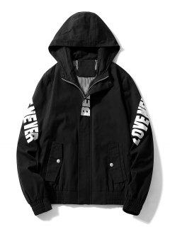Letter Print Full Zipper Side Pocket Hooded Jacket - Black M