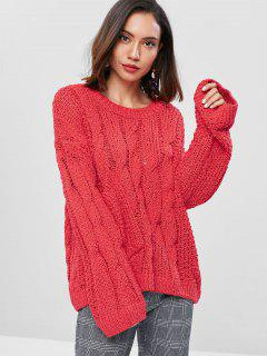 Cable Knit Panel Pocket Sweater - Red