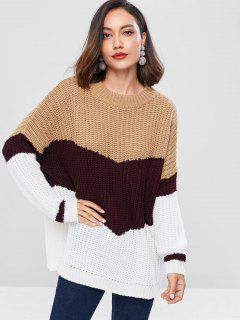Ribbed Panel Color Block Sweater - Tan
