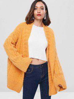 Cable Knit Insert Cardigan - Bright Yellow