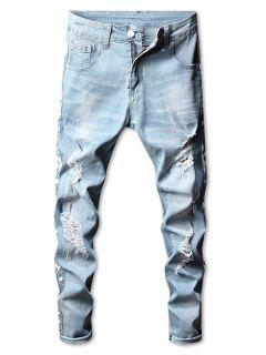 Side Graphic Taped Ripped Stetch Jeans - Baby Blue 32