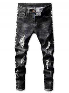 Ripped Faded Wash Letter Print Jeans - Black 32