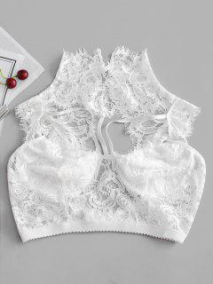 Cut Out Lace Longline High Neck Bralette - White S