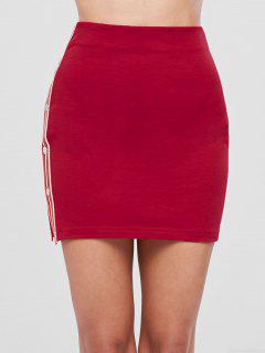 Contrast Side High Waisted Pencil Skirt - Cranberry S