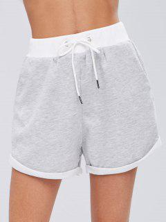 Drawstring Contrasting Sweat Shorts - Light Gray S