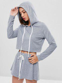 Drawstring Boxy Hoodie And Shorts Set - Gray M