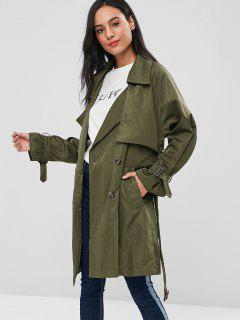 Double Breasted Knee Length Trench Coat - Army Green S