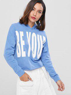 Loose Letter Graphic Hoodie - Denim Blue