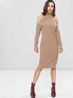 Cold Shoulder Turtleneck Sheath Sweater Dress - Camel Brown L