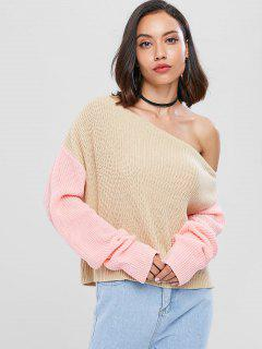 Two Tone Skew Collar Pullover Sweater - Light Khaki