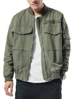 Big Pockets Patch Elastic Cuffs Zip Jacket - Army Green S