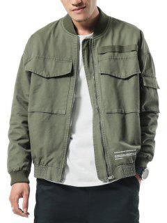 Big Pockets Patch Elastic Cuffs Zip Jacket - Army Green L