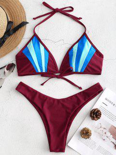Color Block High Cut Bikini Set - Red Wine L