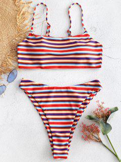 High Cut Streifen Bikini Set - Multi M
