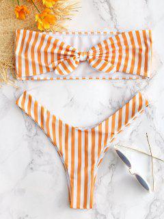 Gestreifte Krawatte Vorne Bralette Bikini Set - Melone S
