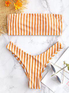 Gestreiftes High Cut Bandeau Bikini Set - Melone S