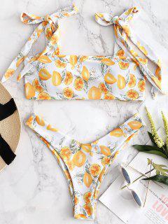 Bikini De Hombro Con Lazo De Limón - Blanco L