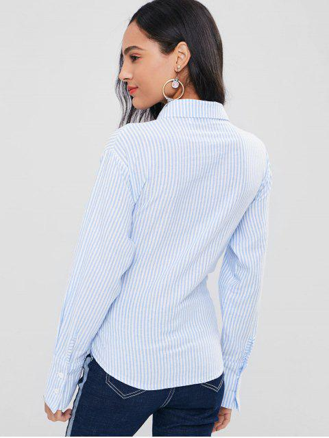 lady Striped Drop Shoulder Corset Shirt - LIGHT SKY BLUE M Mobile