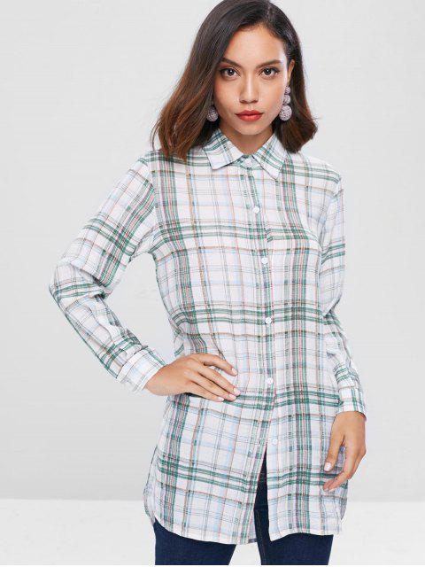 shop Checkered Long Shirt - MULTI M Mobile