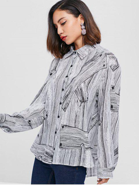 chic Graphic Drop Shoulder Shirt - LIGHT GRAY ONE SIZE Mobile