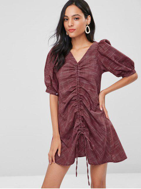 hot Cinched Puff Sleeves Gingham Dress - RED WINE ONE SIZE Mobile
