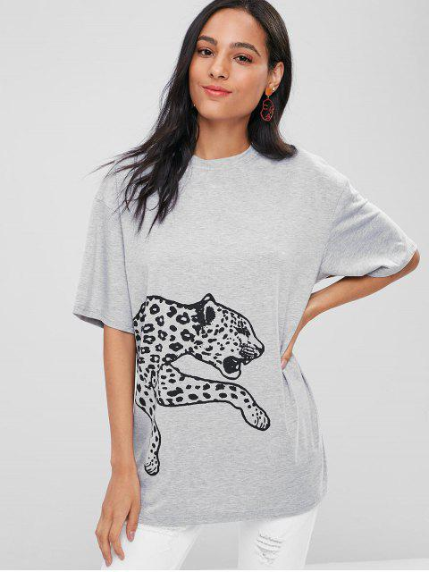 outfits Leopard Graphic Loose Tee - GRAY ONE SIZE Mobile