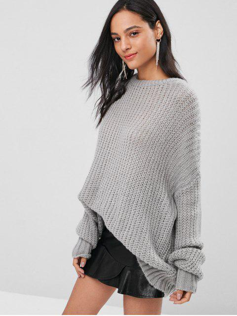 online ZAFUL Oversized Chunky Sweater - GRAY ONE SIZE Mobile