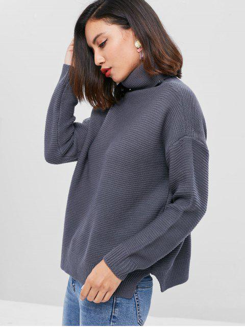 outfits Drop Shoulder Turtleneck Chunky Sweater - DARK GRAY ONE SIZE Mobile