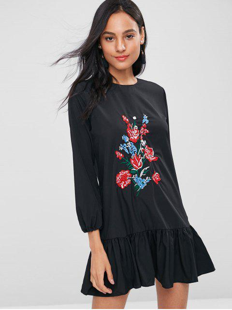 online Floral Embroidered Tunic Dress - BLACK XL Mobile
