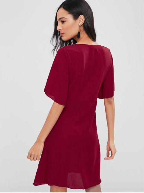 hot Bowknot Plunging Ruffle Dress - CHESTNUT RED M Mobile